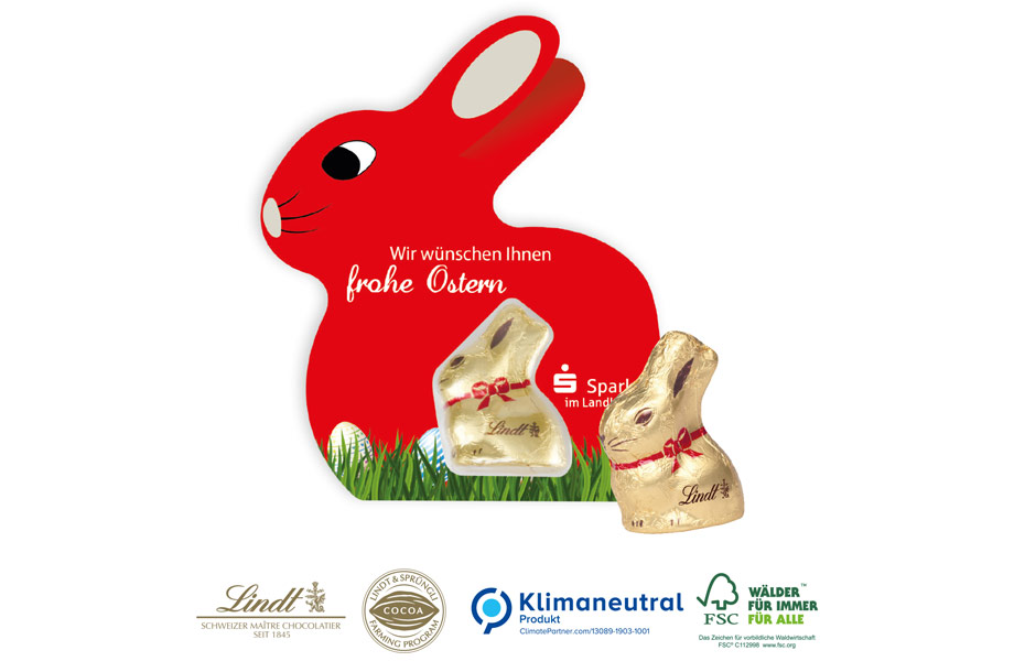 Promotion-Card Hase mit Goldhase Lindt