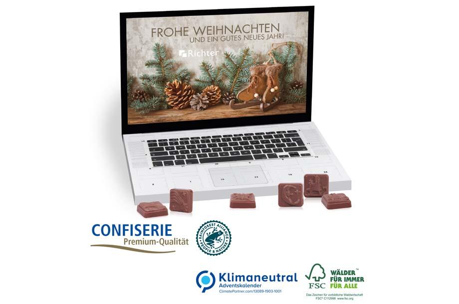Tisch-Adventskalender Classic Exklusiv Laptop, 75 g, Klimaneutral, FSC®