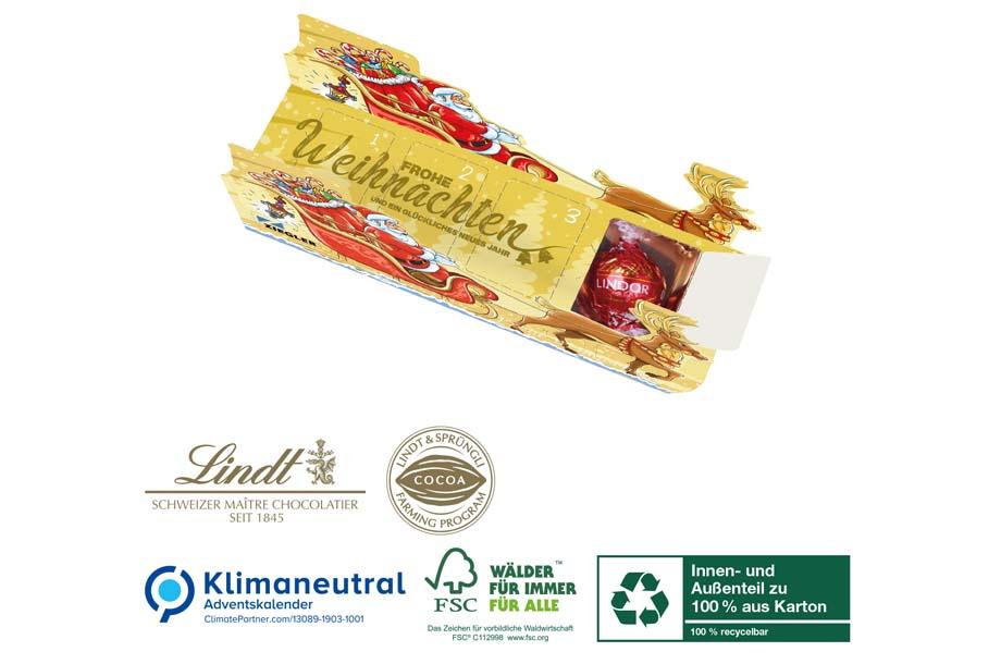 Lindt - Adventskalender-Schlitten mit vier Türchen, Klimaneutral, FSC®