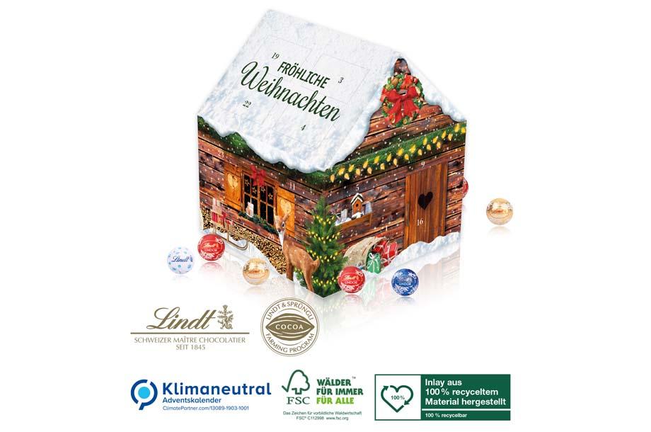 Lindt Adventskalender Weihnachtshaus, Klimaneutral, FSC®