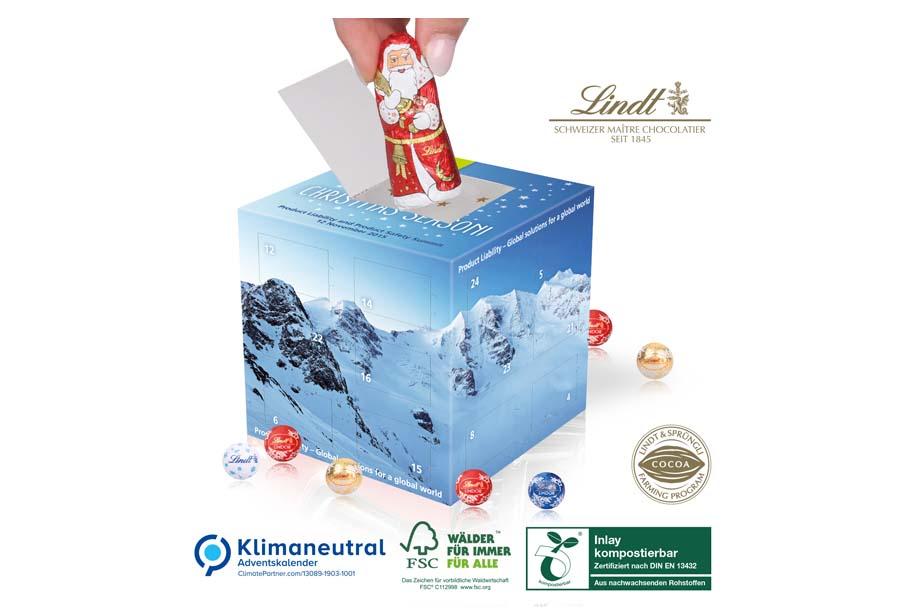 Lindt - Adventskalender Cube mit Weihnachtsmann, Klimaneutral, FSC®