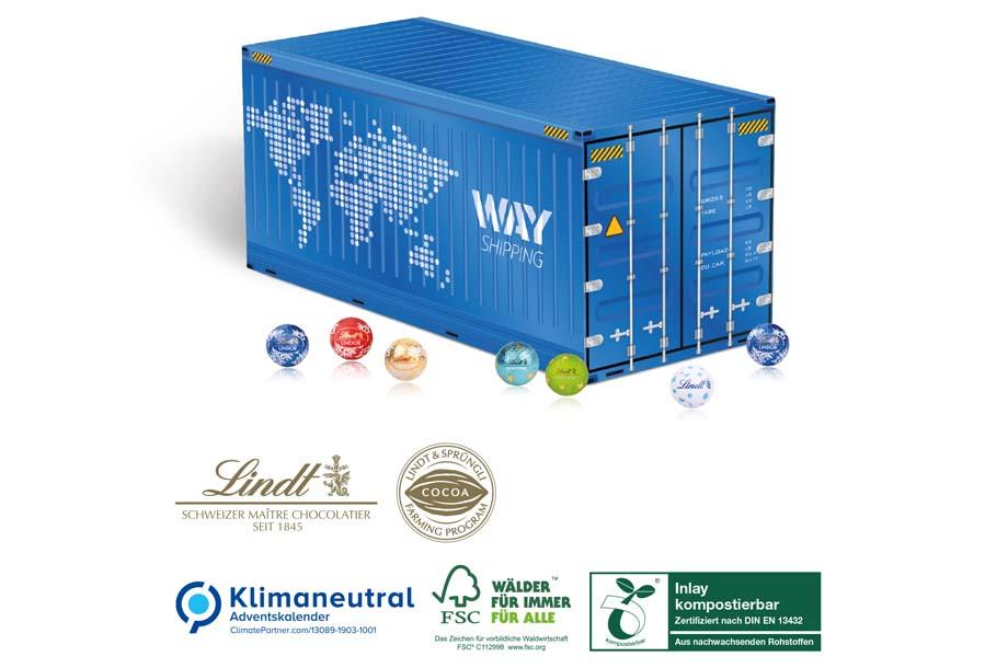 Lindt Lindor - 3D Adventskalender Container mit, Klimaneutral, FSC®
