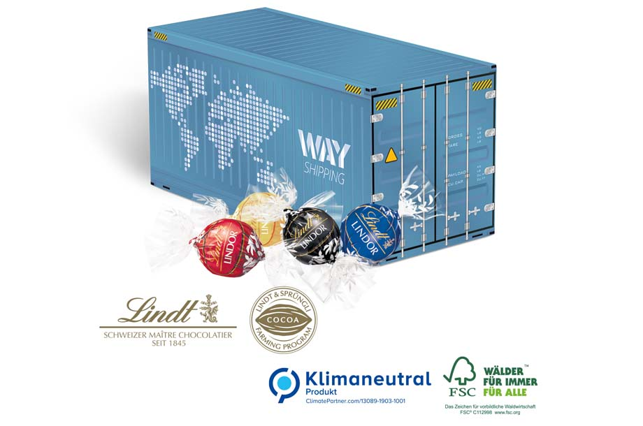 Lindt Lindor Pralinés - Lindt 3D Präsent Container, Klimaneutral, FSC®
