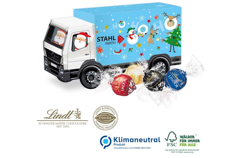 Lindt-3D Präsent LKW mit Lindor Pralinés, Klimaneutral, FSC®