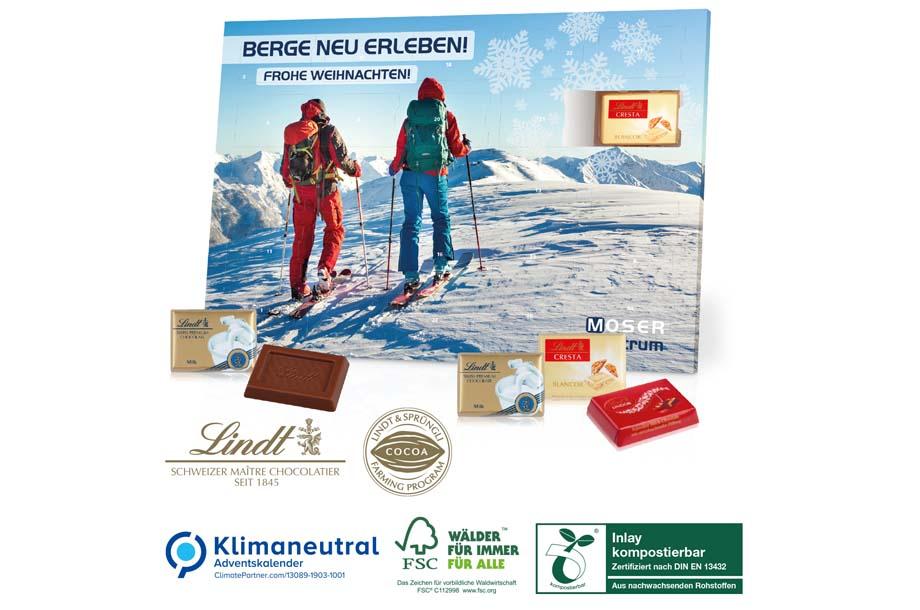 Lindt -Tisch-Adventskalender Exklusiv, Klimaneutral, FSC®, Inlay kompostierbar