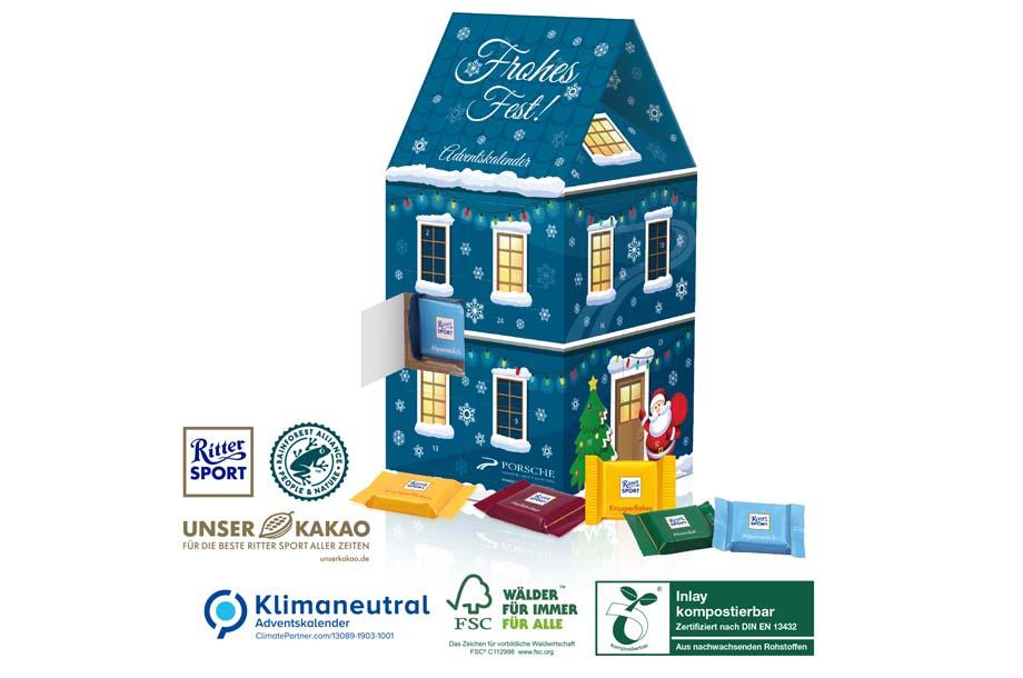 Ritter SPORT - Adventskalender-Haus XL, Klimaneutral, FSC®