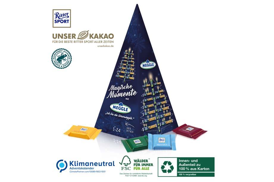Ritter SPORT - Karton-Adventskalender Weihnachtspyramide, Klimaneutral, FSC®
