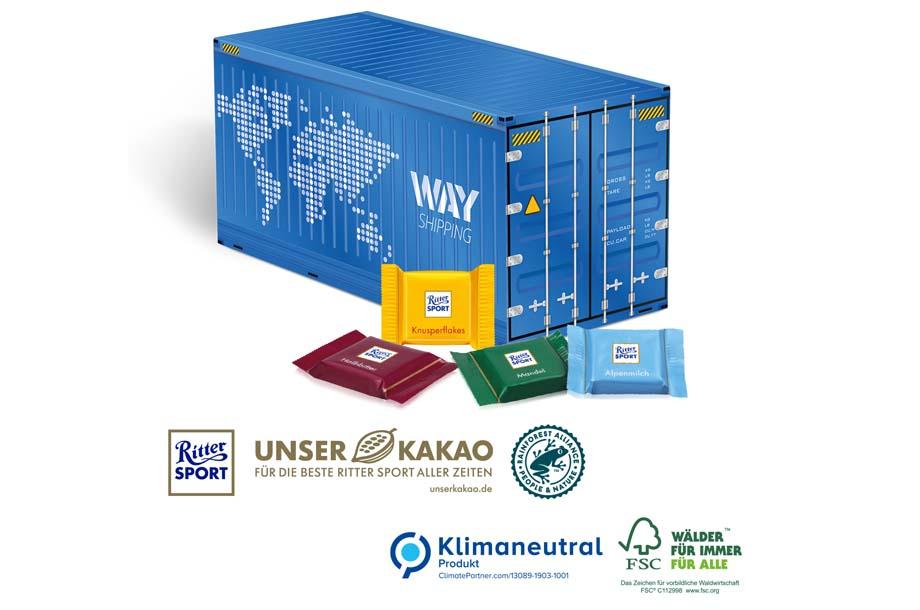 Ritter SPORT - 3D Präsent Container mit Schokotäfelchen, Klimaneutral, FSC®