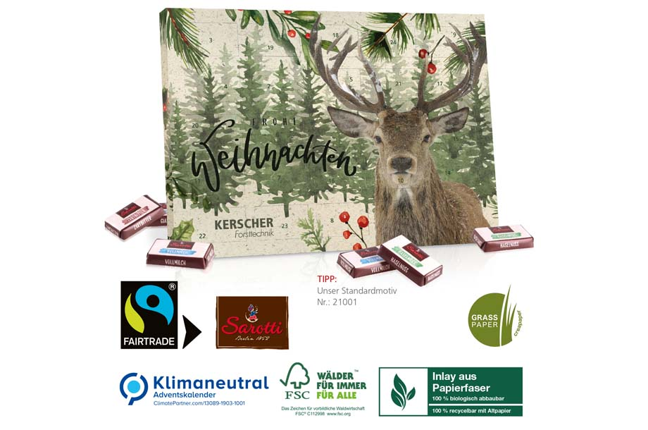 Sarotti-Adventskalender aus Graspapier mit Fairtrade-Kakao, Klimaneutral, FSC®